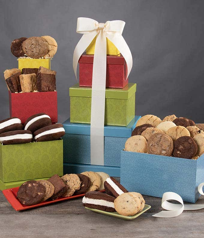 Brownies and Cookies delivered in a gift tower