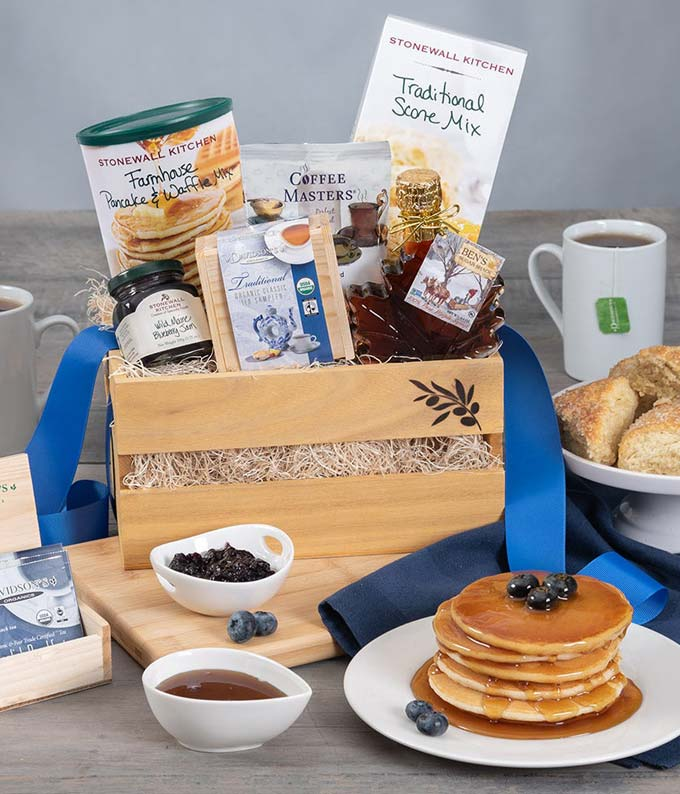 New England breakfast gift with pancake, syrup, scone mix and jam