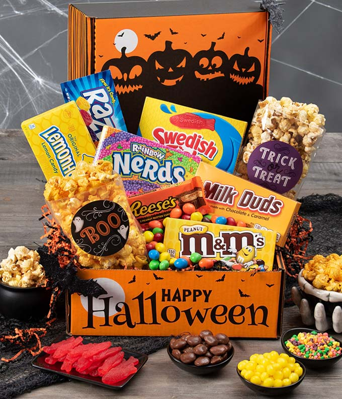 Halloween candy, gummy and popcorn gift