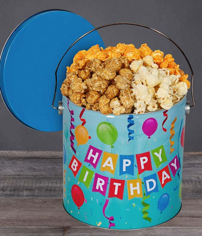 Happy Birthday Butter Popcorn Tin