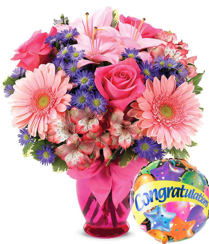 Congratulation flowers with pink roses and pink daisies with congrats balloon