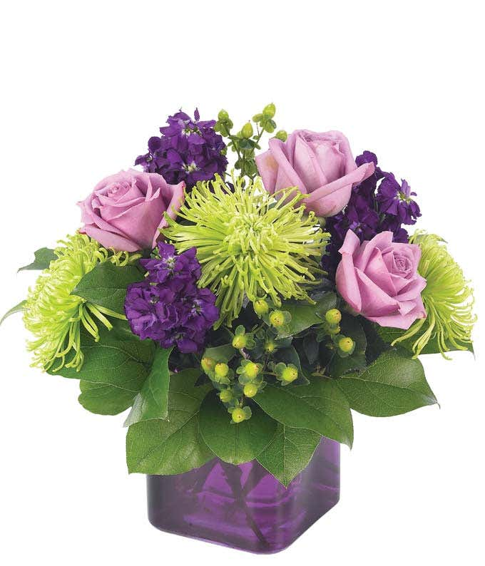 Purple roses and green spider mums in a square purple vase