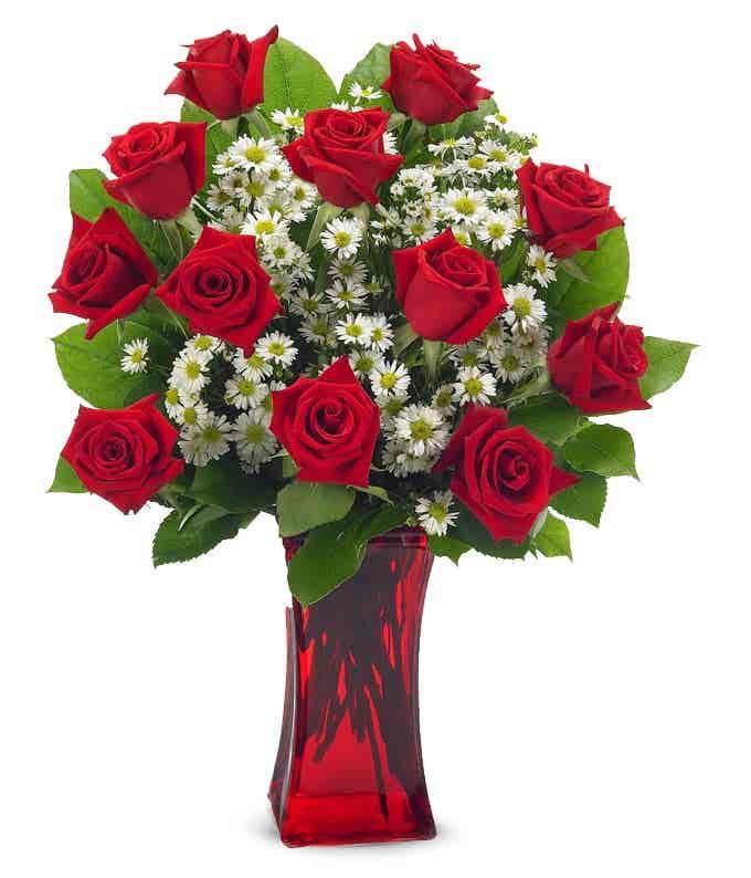 Long stemmed Red roses delivered in red vase