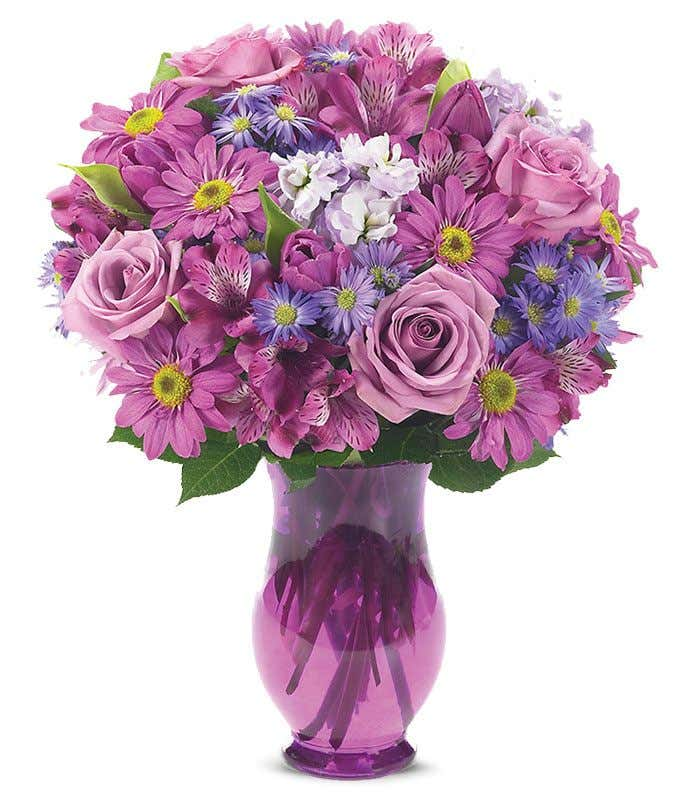 Lavender Roses, Lavender tulips and Lavender Daisies Bouquet