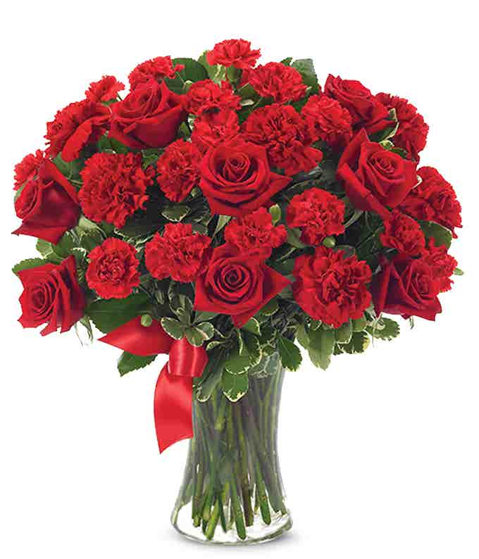 Red roses and carnations in glass vase