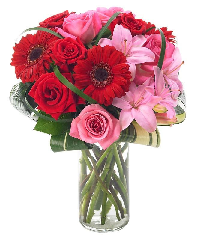 Pink lilies, red gerbera daisies and pink roses