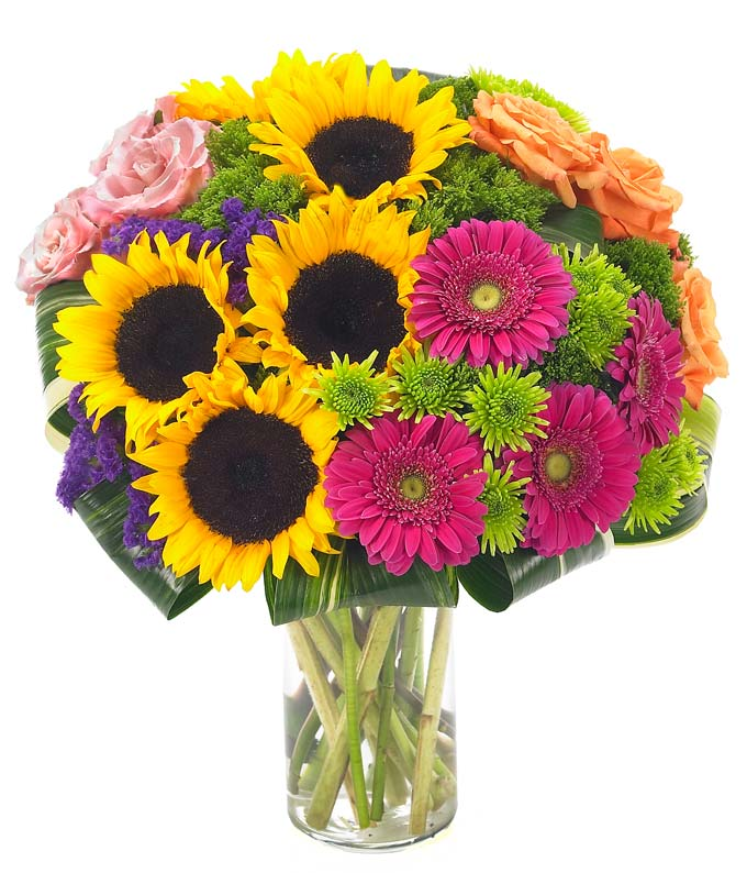 Sunflower, Pink gerbera daisies and orange roses