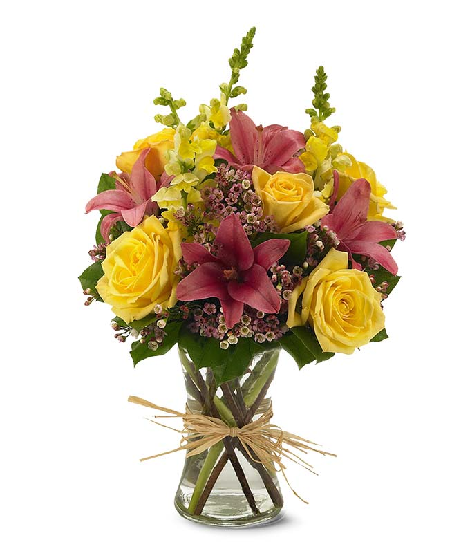 Pink Lilies, Yellow Snapdragons and yellow rose bouquet