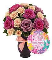 Purple and pink roses with Mother's Day balloon