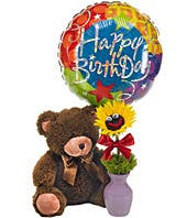 Happy Birthday Balloon Delivered With Teddy Bear And Smiling Sunflower