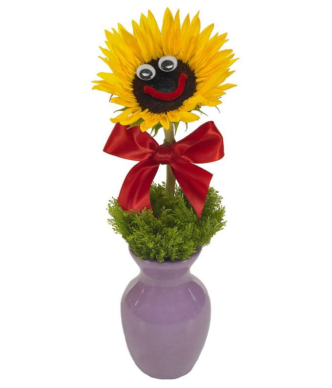 Sunflower delivered in bud vase
