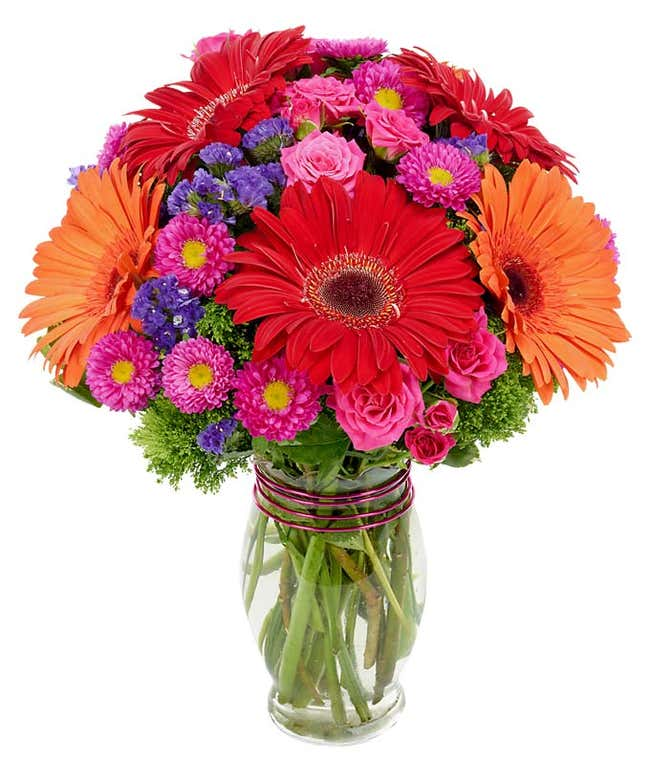 Red and orange gerbera daisies arranged with hot pink asters