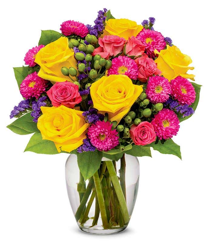 Yellow roses, hot pink roses and asters for delivery