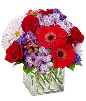 Red gerbera daisies, purple flowers and more in square vase