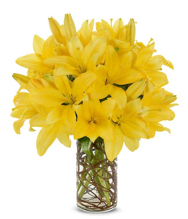 all yellow lily bouquet