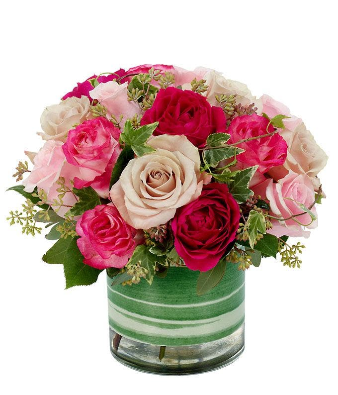 Pink roses, light pink roses and cream roses