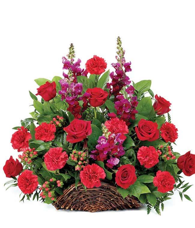 Red flower sympathy basket