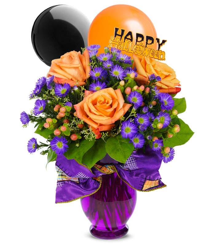 Halloween flower bouquet with halloween balloons