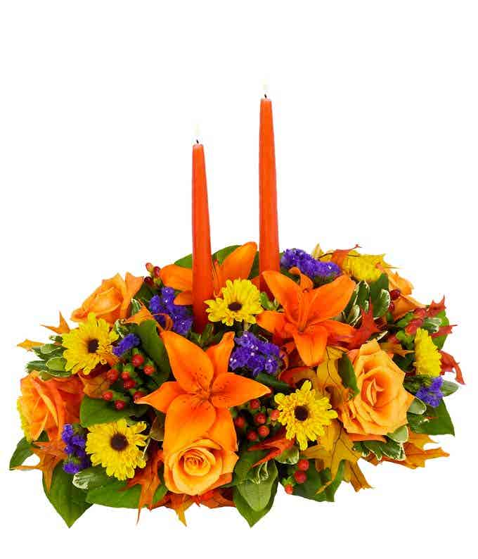 Thanksgiving Centerpieces arranged by a florist for delivery today