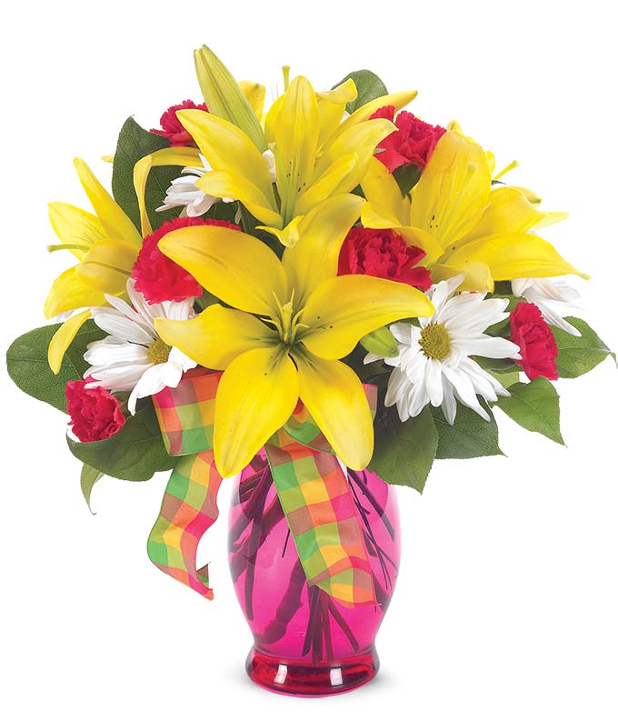 Yellow roses, red carnations and white daisies
