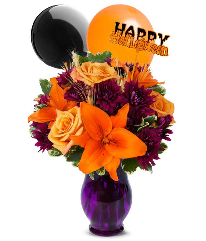 Orange flower halloween flowers with balloons