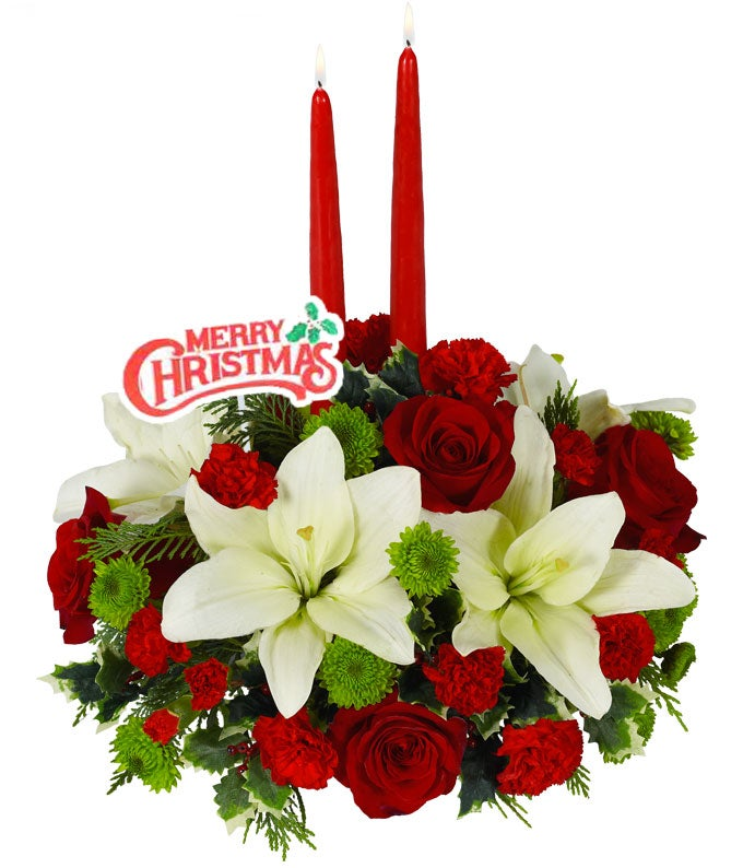 Christmas Floral Centerpiece with Holiday Pick