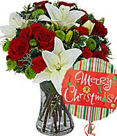 Christmas red roses and white lilies delivered with a Christmas balloon