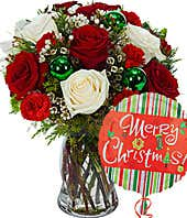 Christmas rose bouquet with Merry Christmas balloon