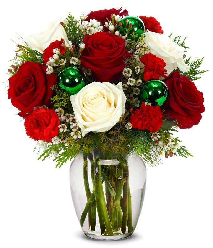 Christmas floral arrangement with red and white flowers