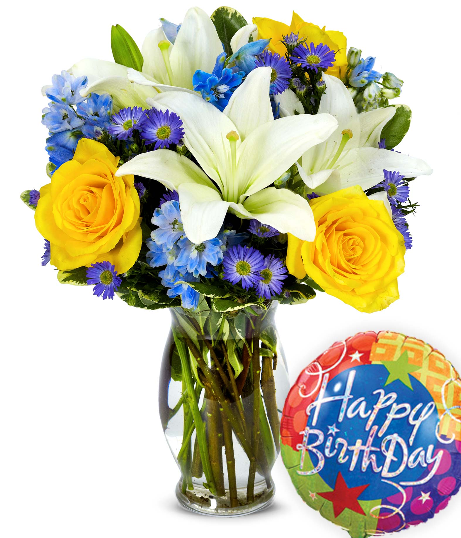 Rose and Lily Bouquet with Birthday Balloon