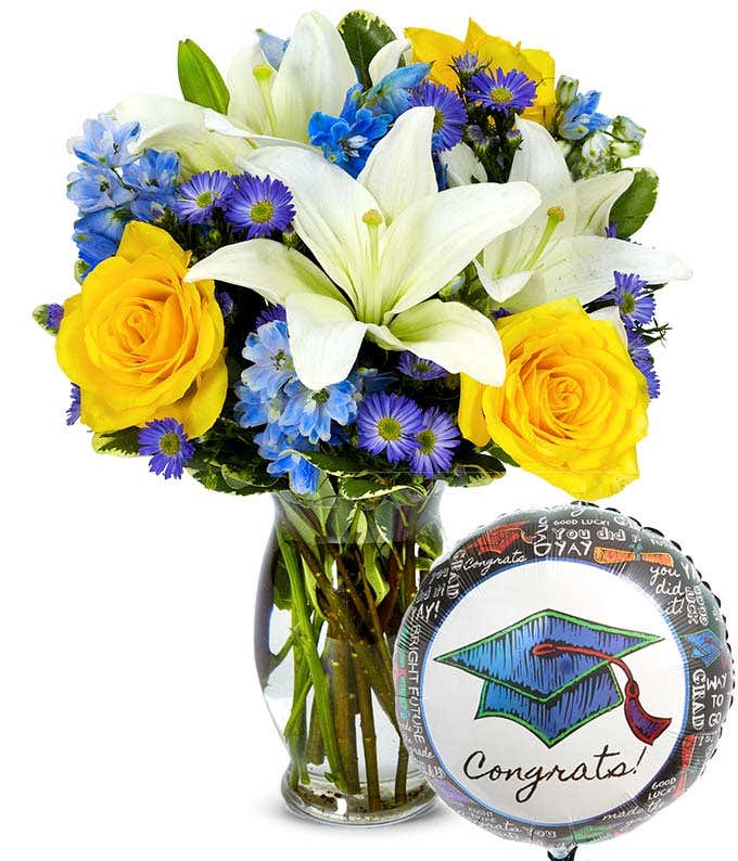 Graduation flower bouquet with balloon