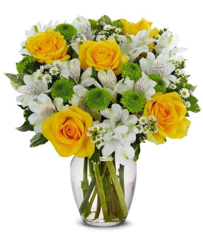Yellow roses with white alstroemeria are same day flowers