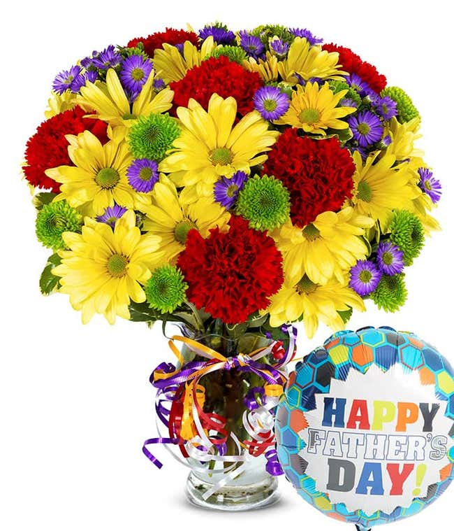 Best Wishes Bouquet with Father's Day Balloon
