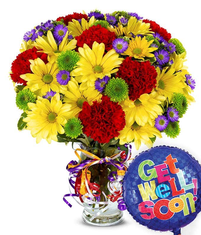 Get well balloon delivered with red and yellow flowers