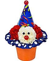 Birthday clown arranged with flowers