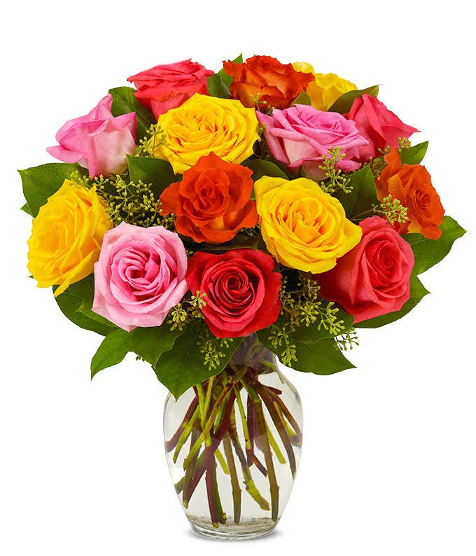 18 Bright Roses in Red, Yellow and Pink for delivery
