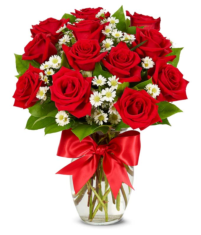 One dozen red roses delivered in glass vase with bow ...