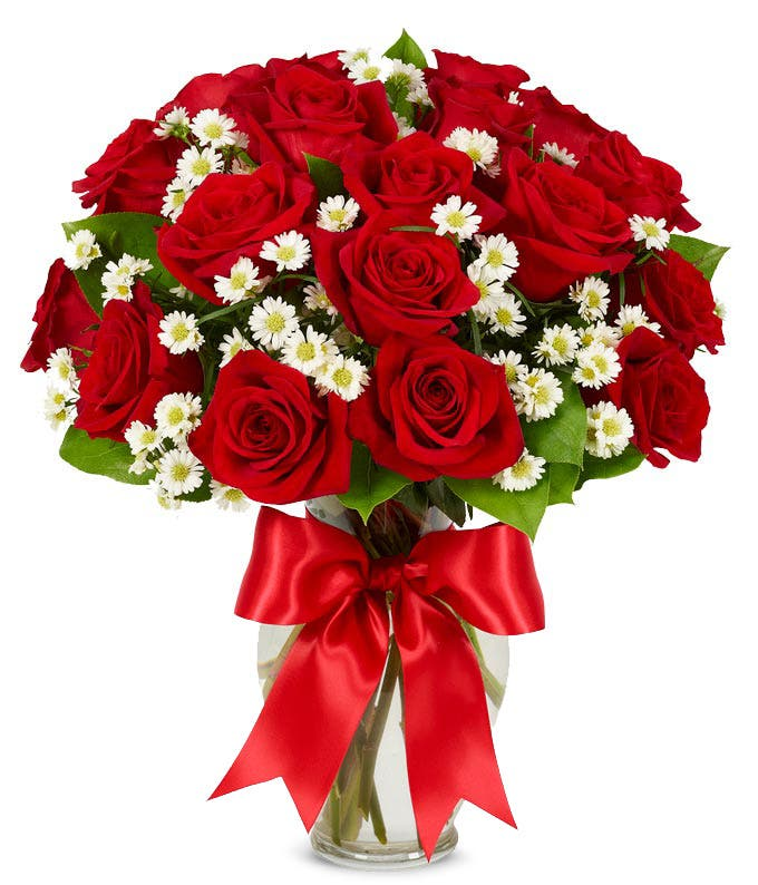 18 long stem red roses delivered in a vase