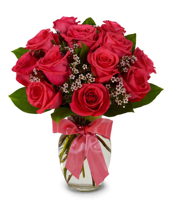Hot pink long stemmed roses in a clear glass vase