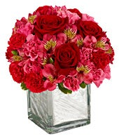 Red roses, pink roses and alstroemeria in a modern square vase