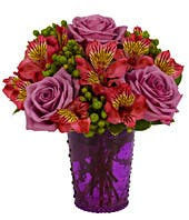 Purple roses with pink alstroemeria with green hypericum