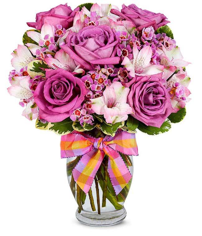 Lavender Roses with Pink Alstroemeria delivered