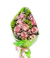 All Pink Rose Hand-Tied Bouquet