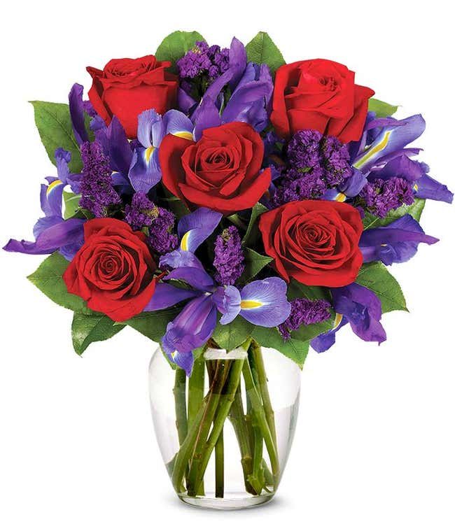 Red roses and blue irises