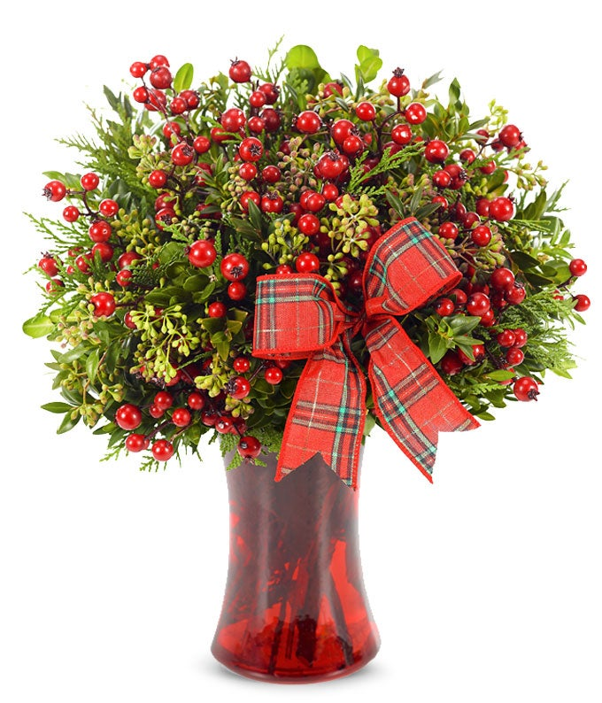 Holiday red hypericum berry bouquet
