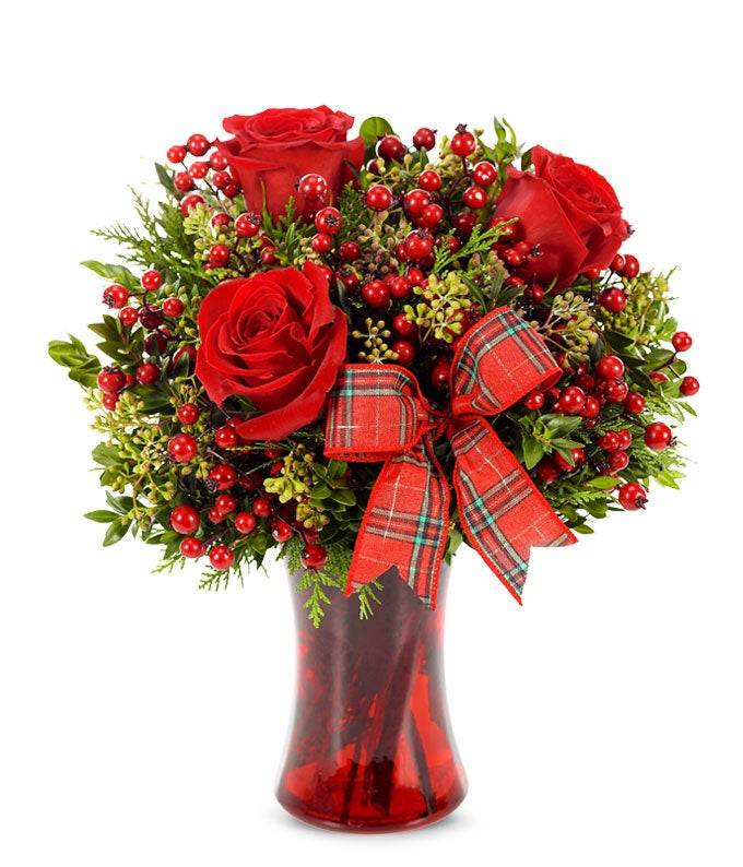 Red rose and hypericum Holiday bouquet