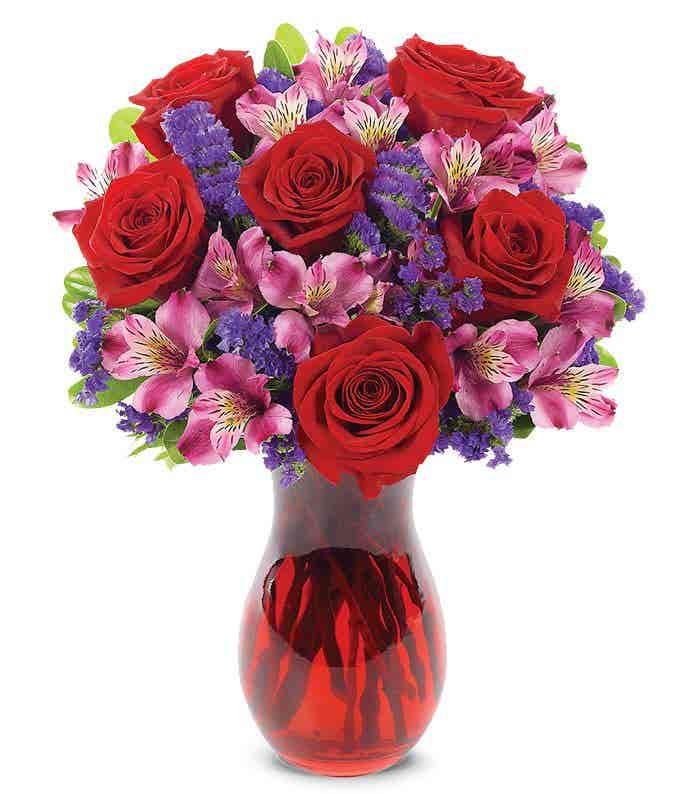 Red and purple romantic arrangement