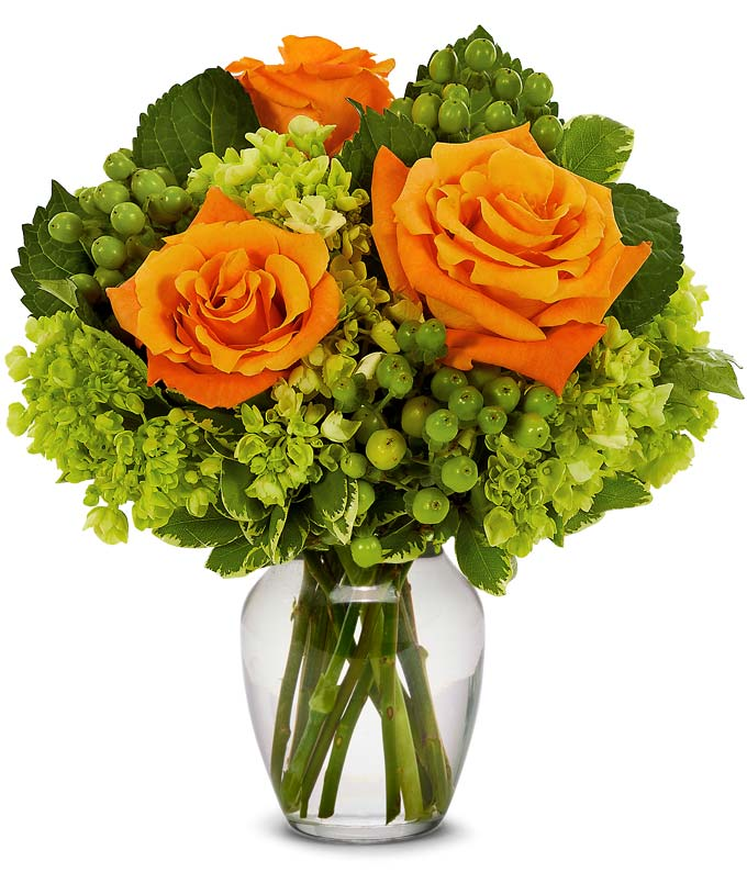 Orange roses and green hypericum berries