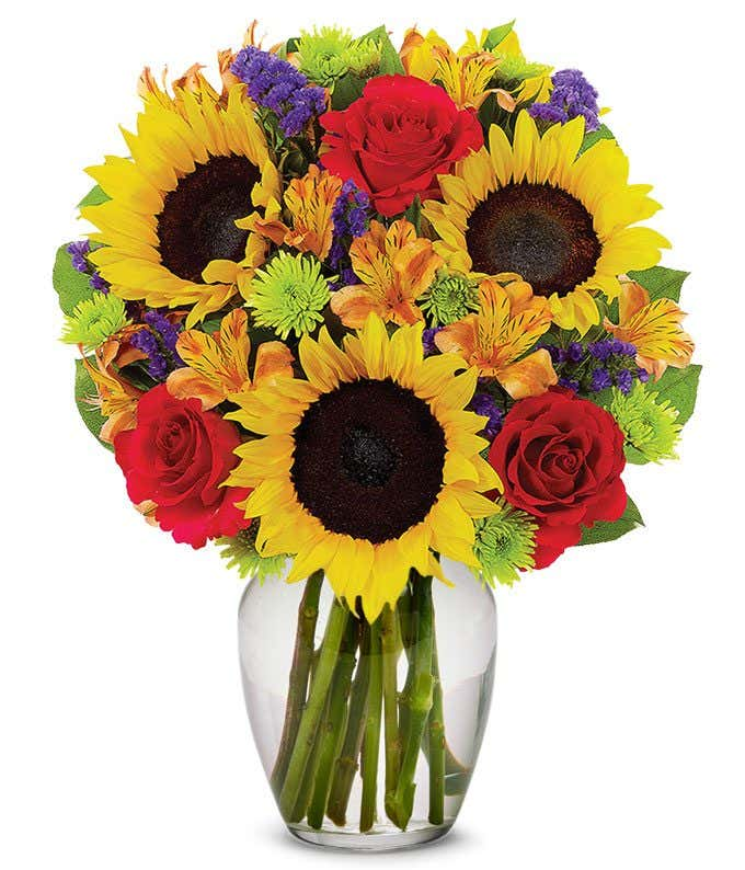 Sunflower and Red Rose Delight