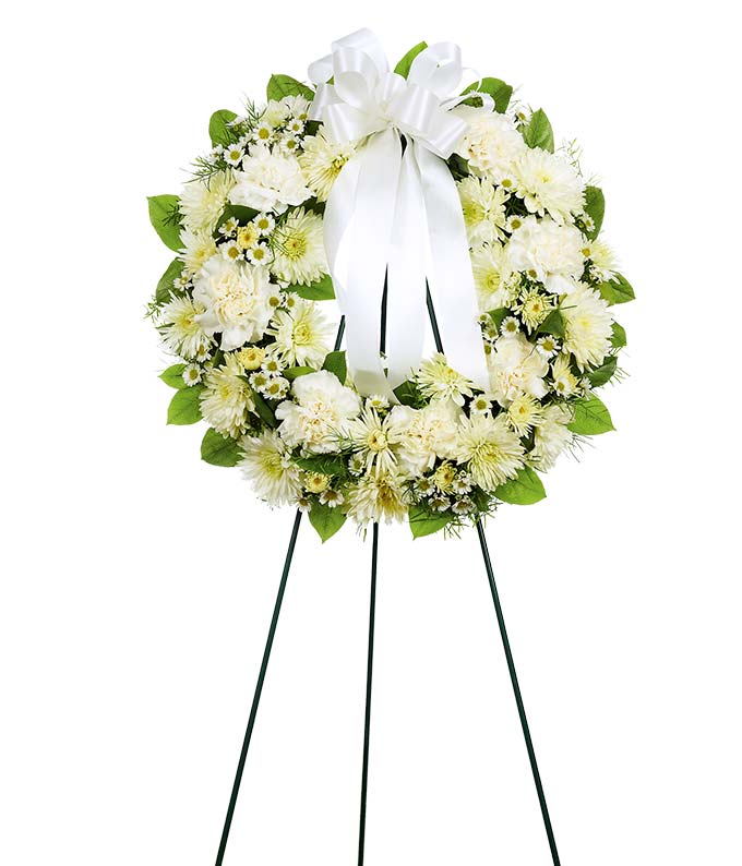 White flower open wreath standing spray